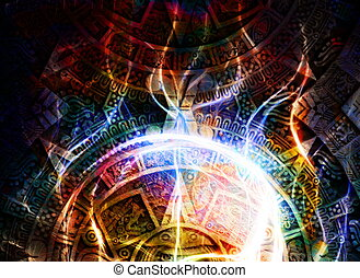 Ancient Mayan Calendar, abstract color Background, computer...