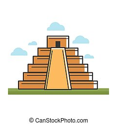 Ancient Mayan pyramid on green grass under sky with clouds
