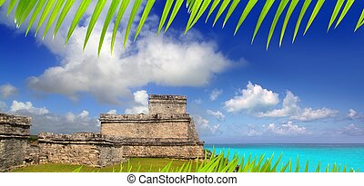 ancient Mayan ruins Tulum Caribbean turquoise sea direct...