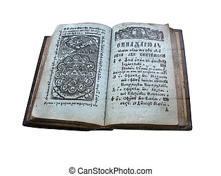 Ancient medieval book isolated over white background