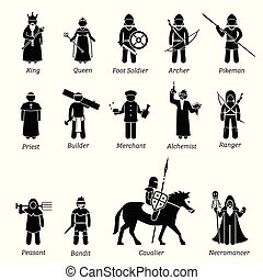 Ancient medieval characters classes and warriors icon set.