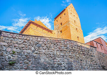 Ancient medieval fortress with a stone wall