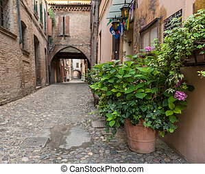 Ancient medieval street in the down