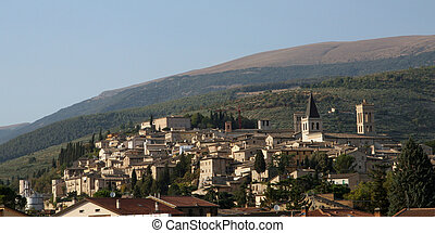 ancient medieval village in the hills of Umbria in Italy