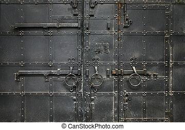 ancient metal black gate close up