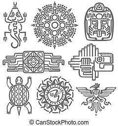 Ancient mexican vector mythology symbols. american aztec, mayan culture native totem patterns