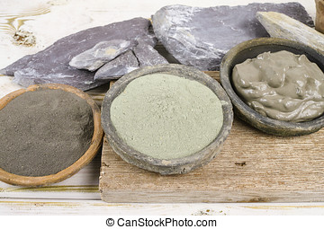 Ancient minerals - green and blue clay powder and mud mask...