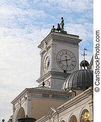 ancient monument with the clock tower in the main square of the city of Udine in northern Italy