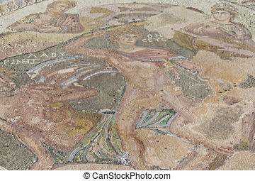 Ancient mosaic on the floor of ancient Greek civilization -...