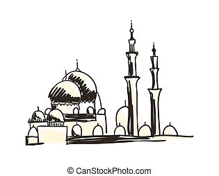 Ancient mosque hand drawn icon
