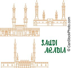 Ancient mosques of Saudi Arabia thin line icon - Islamic...