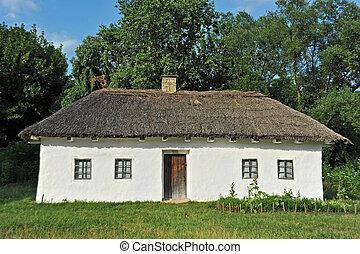 Ancient mud hut - Ancient traditional ukrainian mud hut in...