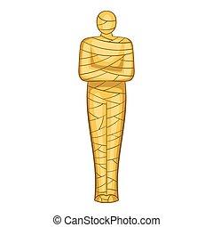 Ancient mummy icon, cartoon style