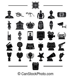 ancient, museum, antiquity and other web icon in black style.gifts, history, products, icons in set collection.