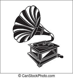Gramophone - ancient musical instrument. Gramophone over...