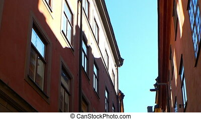 Ancient narrow street in central Stockholm. Old town.