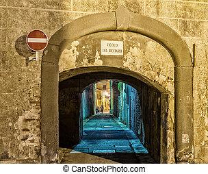 Ancient narrow street in Pisa - Italy