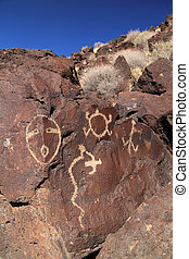Ancient Native American Rock Art - Southwest, New Mexico,...