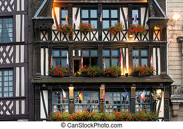 Ancient Norman house - XIII century half-timbered house in...