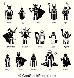 Ancient Norse Mythology Gods and Goddesses Characters Icon Set
