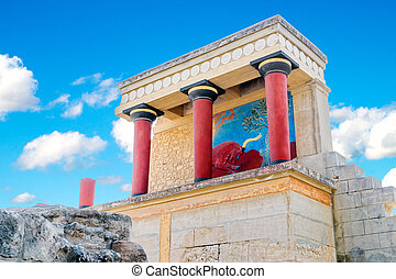 Ancient North Entrance to the Knossos palace with charging red bull fresco.