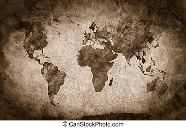 Ancient, old world map. Pencil sketch, grunge, vintage background texture