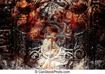 ancient ornamental structure with filigrane pattern on abstract background.