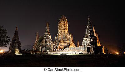 Ancient pagoda night from ayuthaya thailand.