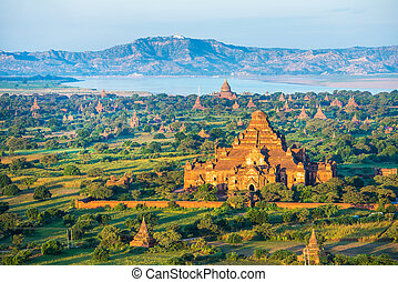 Ancient pagodas in Bagan with altitude balloon Myanmar