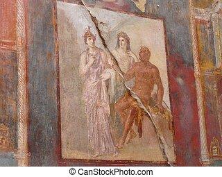 Ancient painted wall fresco at Herculaneum, Italy