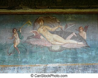 Ancient painted wall fresco of Venus at the ancient Roman city of Pompeii, which was destroyed and buried during the eruption of Mount Vesuvius in 79 AD