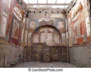 Ancient painted wall frescoes at Herculaneum, Italy