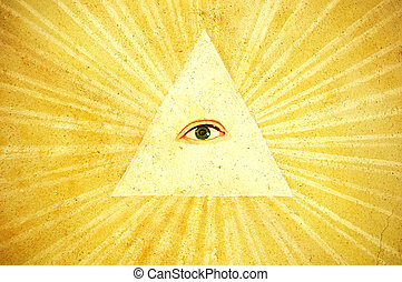 God\\\'s eye - Ancient painting of God\\\'s eye, north Italy