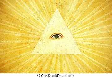 God\\\'s eye - Ancient painting of God\\\'s eye, north Italy