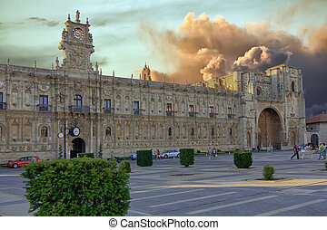 ancient palace in the Plaza de San Marcos, Leon, Spain