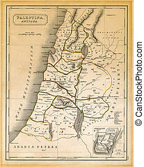 Ancient Palestine Map Printed 1845 - An old 19th century...