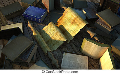 Ancient paper surrounded by several very old books on wooden floor.