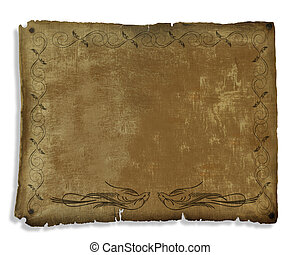 Ancient Parchment Scroll Decorated - 3D illustration...