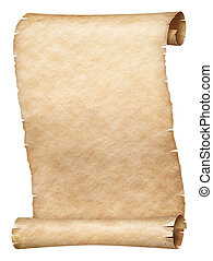 Ancient parchment scroll isolated on white