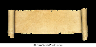 Ancient parchment scroll on black background.