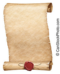 Ancient parchment scroll with wax seal isolated on white