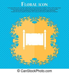 Ancient parchment sheet of paper icon. Floral flat design on a blue abstract background with place for your text. Vector