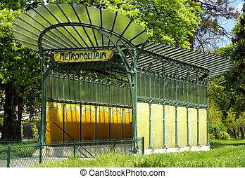 Ancient Parisian underground entran - Image of an ancient...