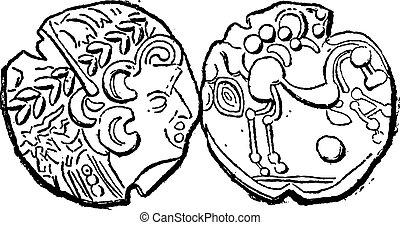 Ancient Parisii Celtic Gold Coin, vintage engraving