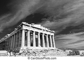 Black and white facade of ancient temple Parthenon in Acropolis Athens Greece on the cloudy sky background