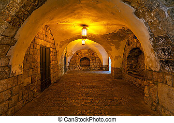 Ancient passage in Jerusalem. - Ancient stone arched passage...