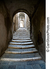 ancient passage - stairway with arch in a old village in...