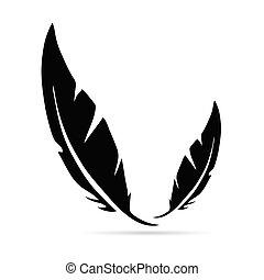 ancient pen in black color illustration