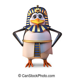 Ancient penguin pharaoh Tutankhamun stands regally with hands on hips, 3d illustration
