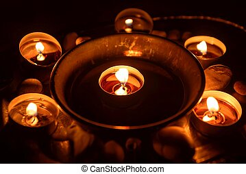 Ancient pentagram burning at altar close up